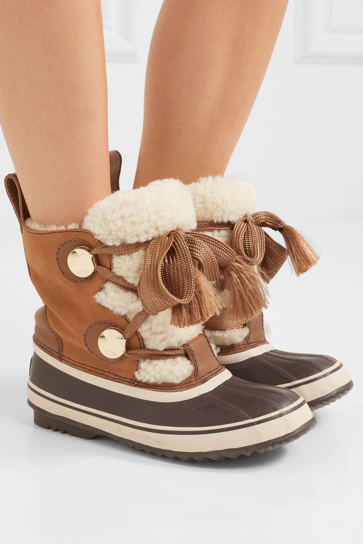 Chloé + Sorel Crosta Stiefel aus Veloursleder und Shearling mit Lederbesätzen