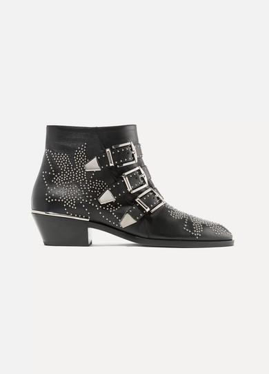 Susanna Studded Leather Ankle Boots in Black