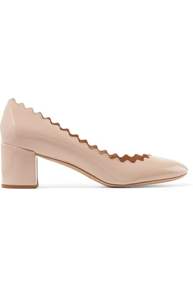 Lauren Scalloped Patent-leather Pumps - Beige Chlo oV9TQ6Ox