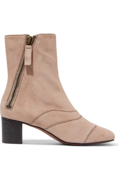 Chloé Suede Lexie Low Boots in ,Neutrals.