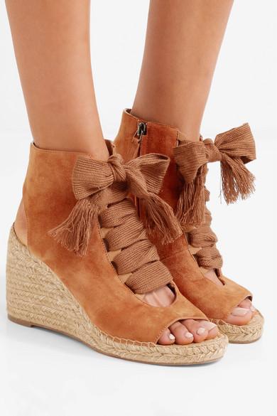 2d277f2b2 Chloé | Harper lace-up suede espadrille wedge sandals | NET-A-PORTER.COM