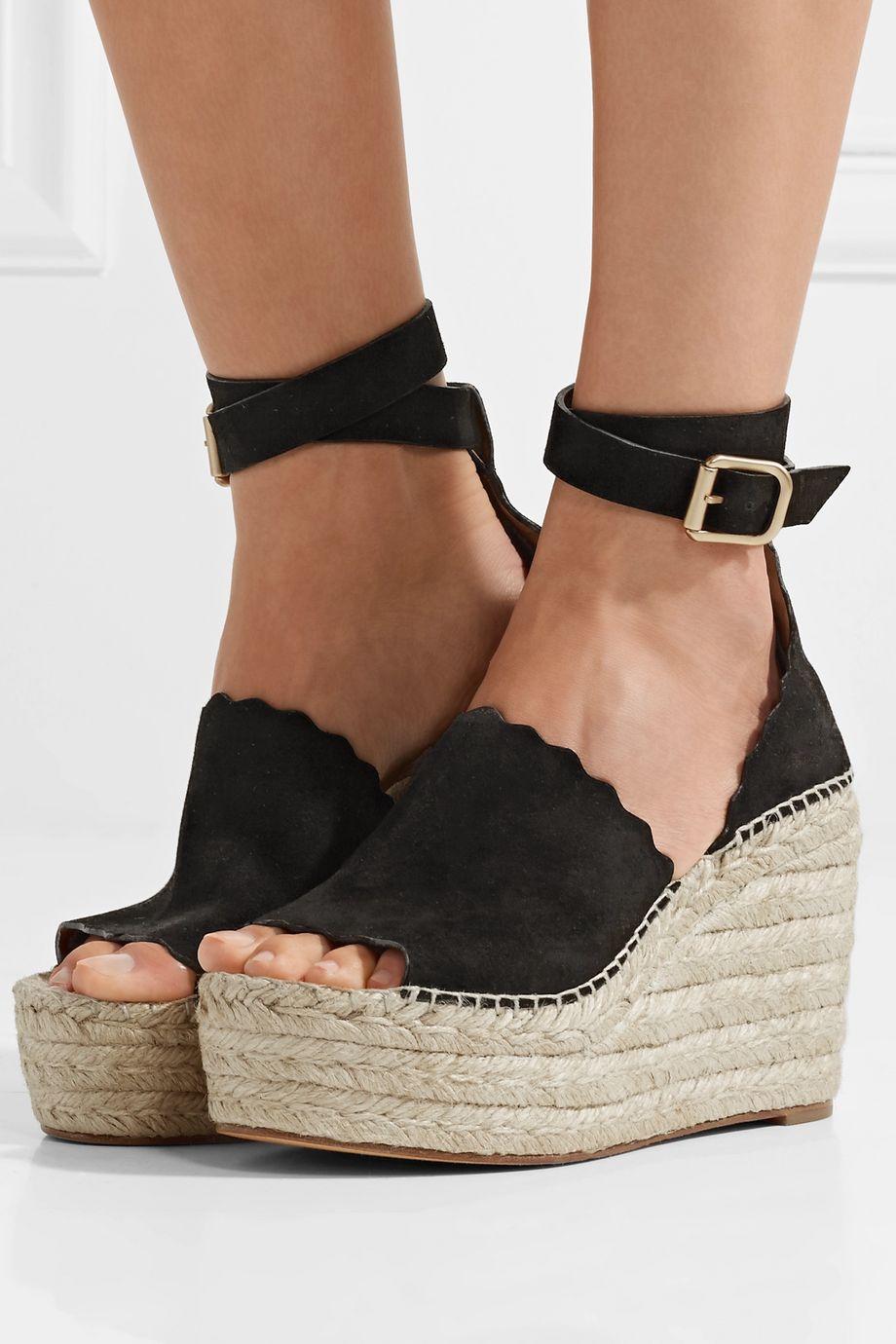 Chloé Lauren 绒面革坡跟麻底鞋