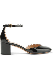 Chloé Lauren scalloped patent-leather pumps
