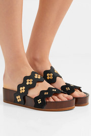 Lauren embellished suede and leather platform slides