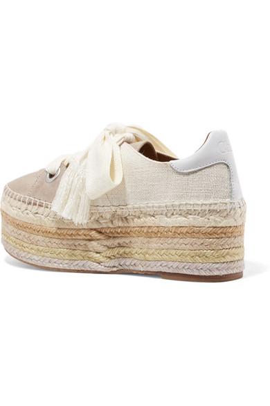 Chloé Qai Espadrille-Sneakers aus Canvas, Veloursleder und Leder mit Plateausohle