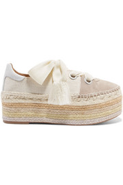 Chloé Qai canvas, suede and leather espadrille platform sneakers
