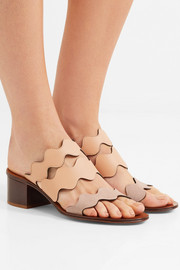 Lauren Palmer scalloped textured-leather and suede mules