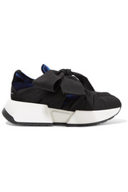 MM6 Maison Margiela Suede-trimmed canvas and velvet sneakers