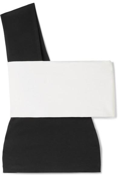 Rosetta Getty Zweifarbiges Oberteil aus Stretch-Jersey mit asymmetrischer Schulterpartie