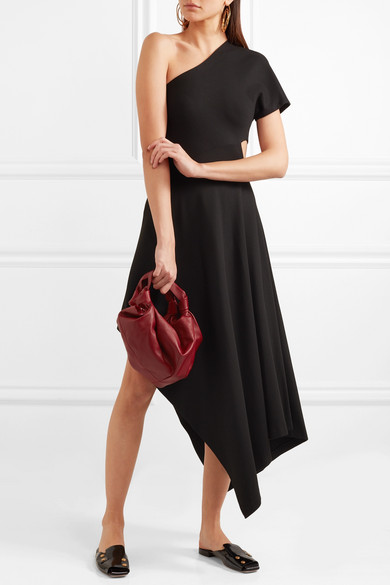 Rosetta Getty Midi Dress In Stretch Ponte With Asymmetric Shoulder Partie