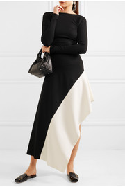 Asymmetric two-tone stretch-jersey midi skirt