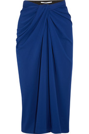 Twist-front stretch-jersey midi skirt