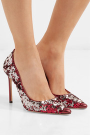 Jimmy Choo Romy 100 sequined metallic leather pumps