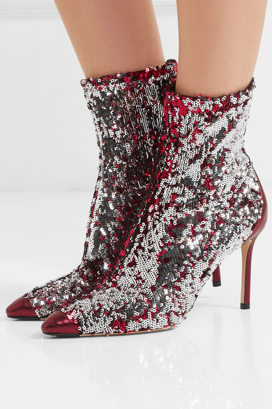 Ricky 85 Metallic Leather-trimmed Sequined Stretch-knit Sock Boots - Fuchsia Jimmy Choo London M7E8e