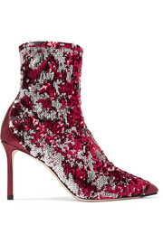 Jimmy Choo Ricky 85 metallic leather-trimmed sequined stretch-knit sock boots