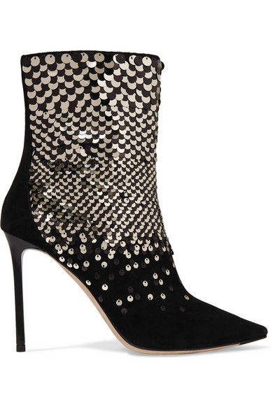 100 EMBELLISHED SUEDE ANKLE BOOTS