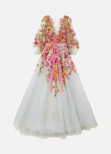 Marchesa - Embellished Appliquéd Tulle Gown - Sky blue