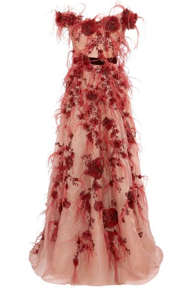 Marchesa Schulterfreie Robe aus Organza aus einer Seidenmischung mit Verzierung