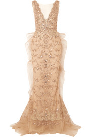 Marchesa Embellished tulle and mesh gown