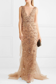 Embellished tulle and mesh gown
