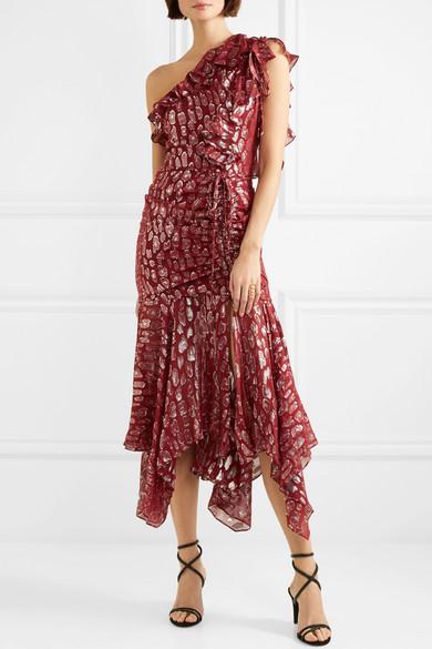 Veronica Beard Leighton Kleid aus Metallic-Jacquard aus einer Seidenmischung mit Volants und asymmetrischer Schulterpartie