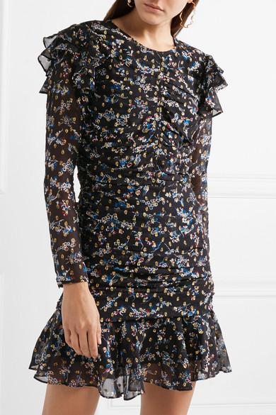 Veronica Beard Parc gerafftes Minikleid aus Chiffon aus einer Seidenmischung mit Fil Coupé in Metallic-Optik