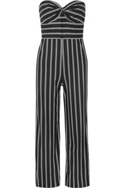 Veronica Beard Cypress strapless striped crepe de chine jumpsuit