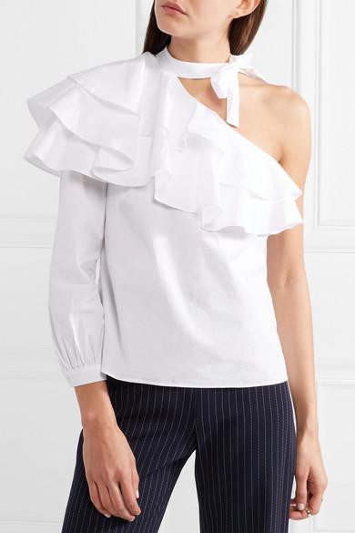 Veronica Beard Gigi Oberteil aus Stretch-Baumwollpopeline mit asymmetrischer Schulterpartie und Volants