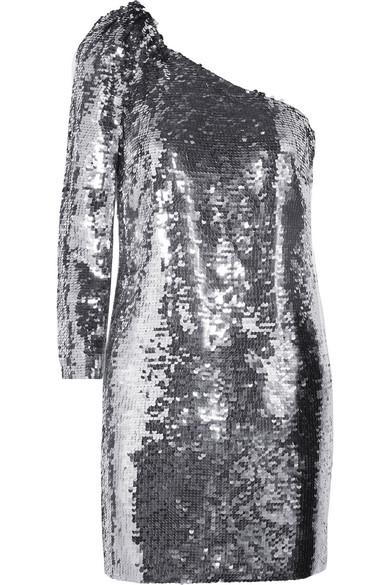 Veronica Beard Atlantis asymmetrisches Minikleid aus Chiffon mit Pailletten