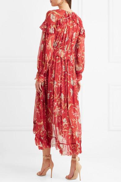 Zimmermann Corsair Midikleid aus Krepon mit floralem Print und Rüschen