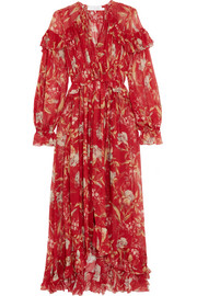 Zimmermann Corsair ruffled floral-print crepon midi dress
