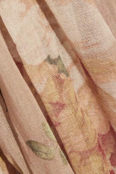 Zimmermann Corsair rüschenverziertes Midikleid aus bedrucktem Voile mit Spitzenbesätzen in Häkeloptik