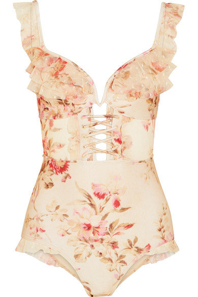 Carpenter Corsair Floral Printed Swimsuit With Ruffled Trims Point Desprit