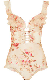 Zimmermann Corsair ruffled floral-print point d'esprit-trimmed halterneck swimsuit