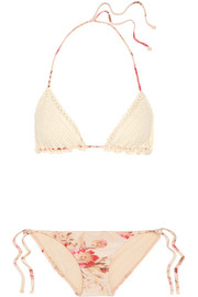 Zimmermann Corsair crocheted cotton and floral-print triangle bikini