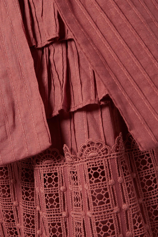 Zimmermann Corsair tiered broderie anglaise cotton midi dress