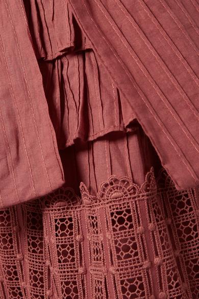 Zimmermann Corsair gestuftes Midikleid aus Baumwolle mit Lochstickerei