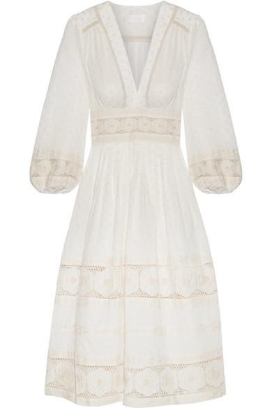 Zimmermann Prima Kleid aus Baumwolle mit eingewebten Punkten und Lochstickerei Beeile Dich lIE3FjM3