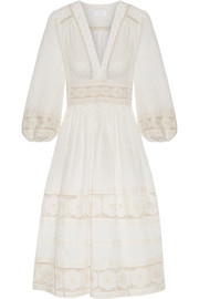 Zimmermann Prima Dot broderie anglaise-trimmed Swiss-dot cotton dress