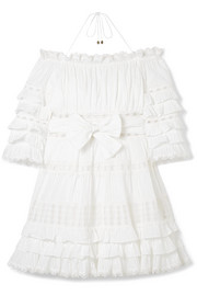 Zimmermann Corsair off-the-shoulder tiered broderie anglaise cotton mini dress