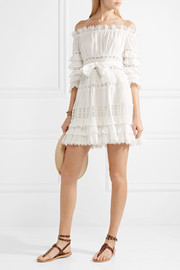 Corsair off-the-shoulder tiered broderie anglaise cotton mini dress