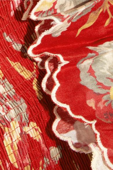 Zimmermann Corsair schulterfreies Kleid aus einer bedruckten Leinen-Baumwollmischung mit Raffung Billig Heißen Verkauf AbNC88p5F