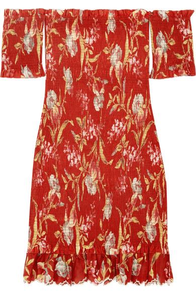 Zimmermann Corsair schulterfreies Kleid aus einer bedruckten Leinen-Baumwollmischung mit Raffung