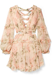 Zimmermann Prima cutout ruffled floral-print silk-georgette mini dress