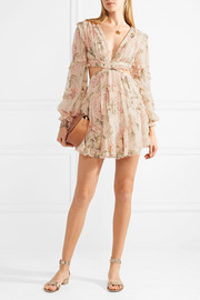 Prima cutout ruffled floral-print silk-georgette mini dress