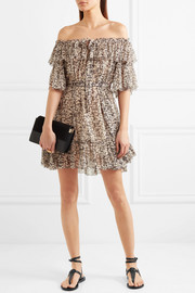 Zimmermann Prima off-the-shoulder printed silk-crepon mini dress