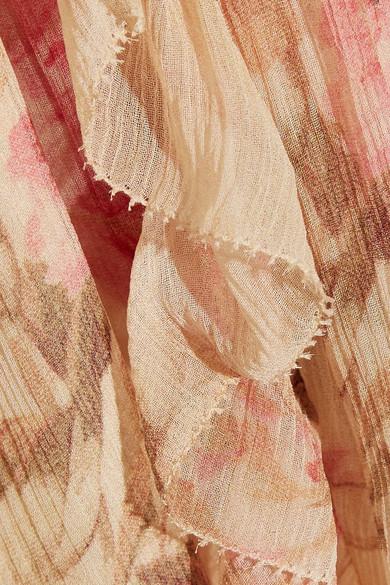 Zimmermann Corsair Playsuit aus floral bedrucktem Seiden-Georgette mit Rüschen und asymmetrischer Schulterpartie