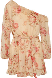 Zimmermann Corsair one-shoulder ruffled floral-print silk-georgette playsuit