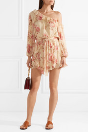 Corsair one-shoulder ruffled floral-print silk-georgette playsuit