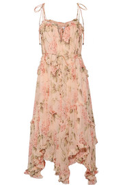 Prima asymmetric ruffled floral-print silk-georgette midi dress